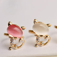 Drop Shipping Gold Color Cute Cat Animal Ross Quartz Crystal Pink Opal Rings Jewelry Wholesale for Women Girls(China)