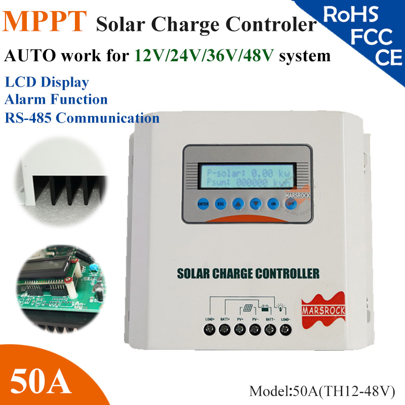 50A 12V/24V/36V/48V auto work MPPT solar Charge Controller with LCD display, RS485 communication (option) for home gdszhs b3 20w 2s 3s lipo battery compact for rc model 11 1v 7 4v 1 6a lipo battery 2s 3s charger