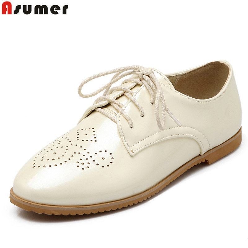 Plus size 34-43 NEW 2016 fashion high quality lace up women flats round toe fashion sweet shoes woman beige pink blue color plus size 34 41 black khaki lace bow flats shoes for womens ds219 fashion round toe bowtie sweet spring summer fall flats shoes