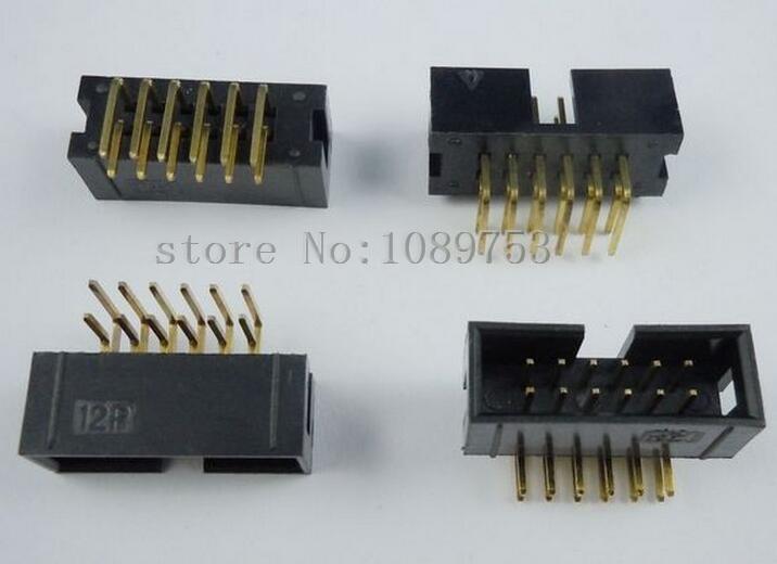 50Pcs 2.54mm 2x6 Pin 12 Pin Straight Male Shrouded PCB Box header IDC Socket