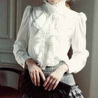 Noble Elegant Bowtie Ruffles Stand Collar Satin Blouse Women Classic Fashion OL Slim Blouse Free Shipping