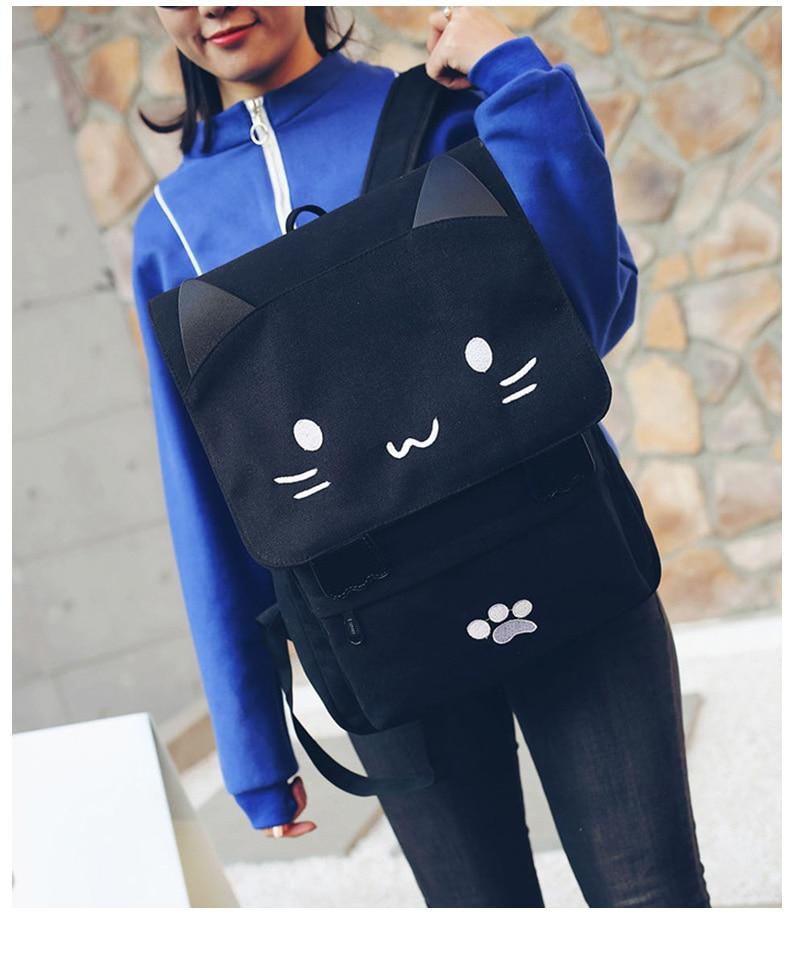 HTB1BqX9a.GF3KVjSZFvq6z nXXa8 Cute Cat Canvas Backpack Cartoon Embroidery Backpacks For Teenage Girls School Bag Fashio Black Printing Rucksack mochilas XA69H