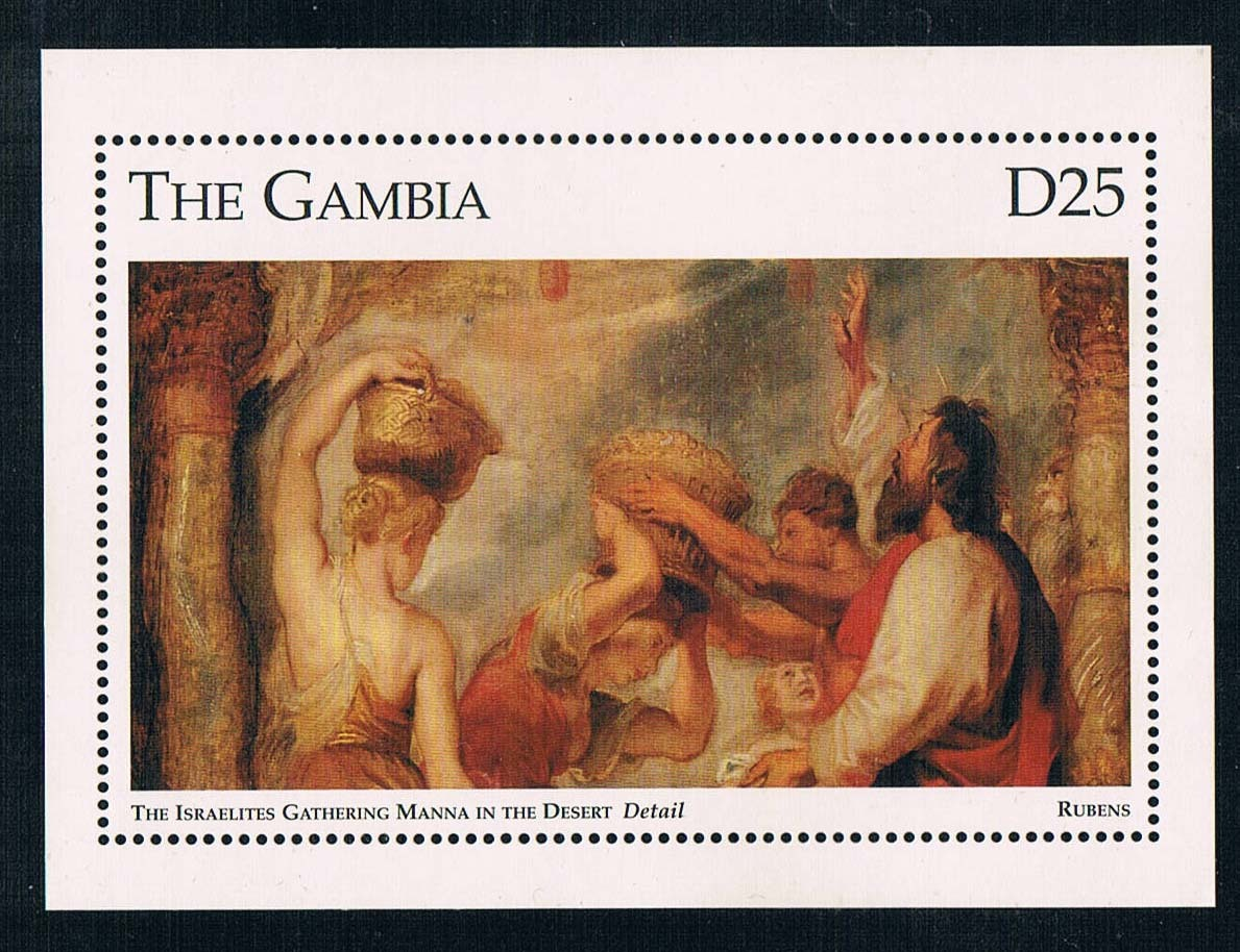 DA0622 Gambia 1993 Lubensi desert oasis Jews collected stamps 1M new painting romanson rm 7a16q lg wh