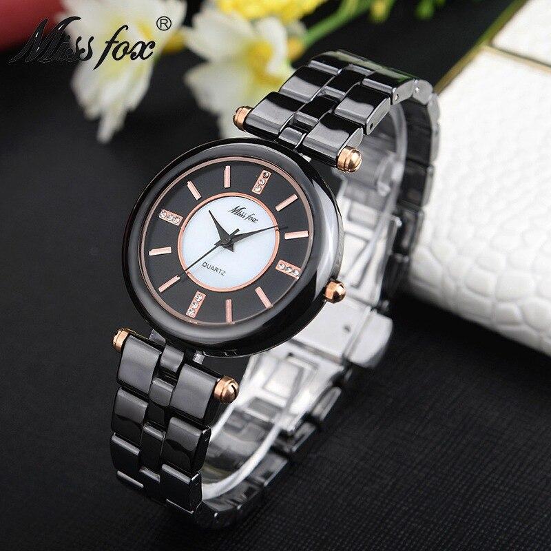 Marque de luxe Montre de mode femmes de haute qualité en céramique noire dames Bracelet Montre-Bracelet Relogio Feminino Montre Relogio horloge nouveau