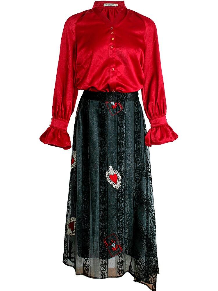2019 printemps été femmes 2 pièces ensembles costume Blouse + jupe deux pièces costume mi-mollet femmes maille robe rouge Vintage dentelle femmes ensemble