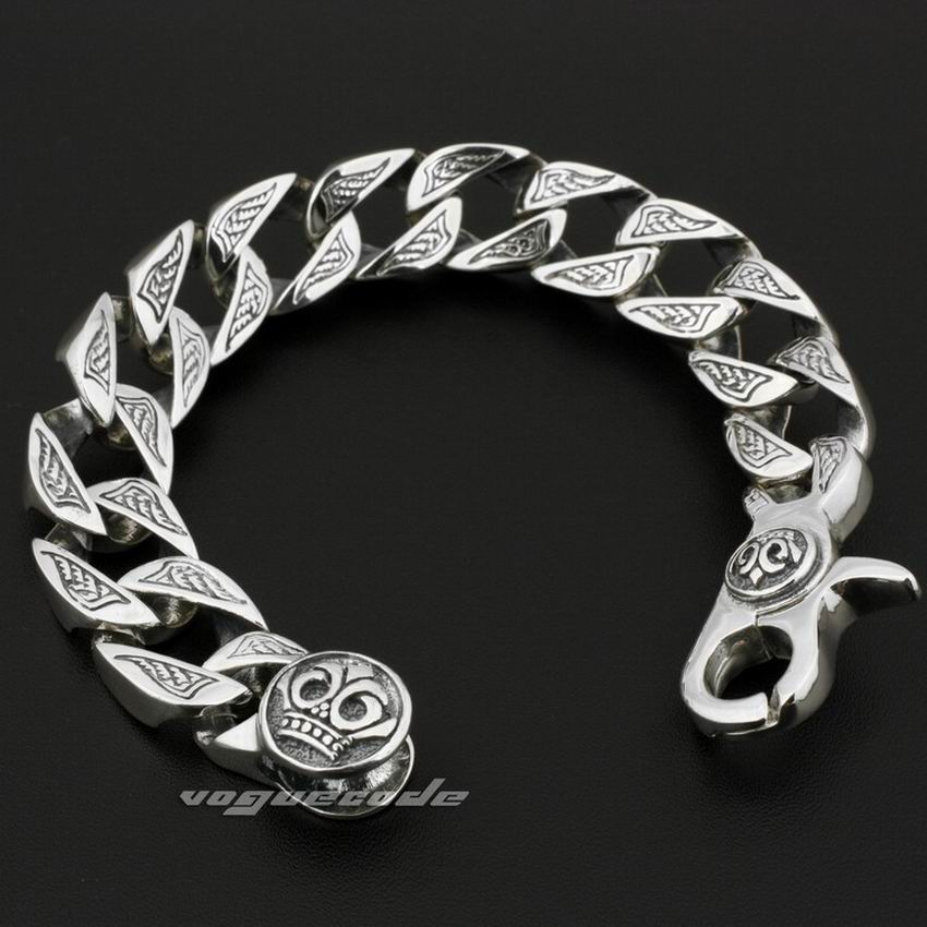 Lengths Huge Heavy Solid Sterling Silver Mens Biker Bracelet W Length inch