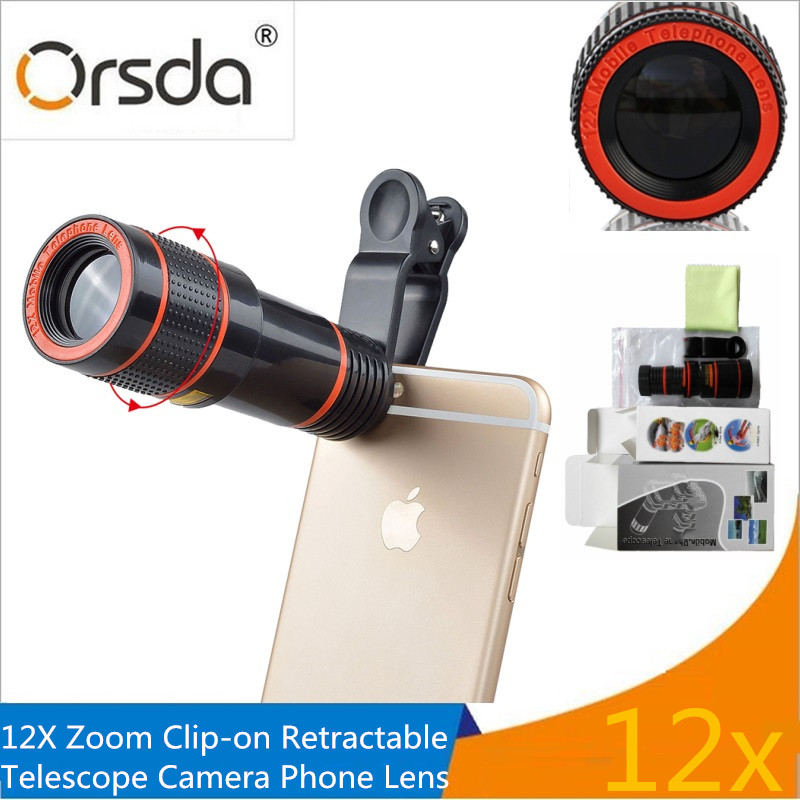 Orsda Universal 12x Zoom Mobile Phone Lens Telescope Telephoto Camera Lenses for iPhone Samsung Huawei Android Smartphone lentes