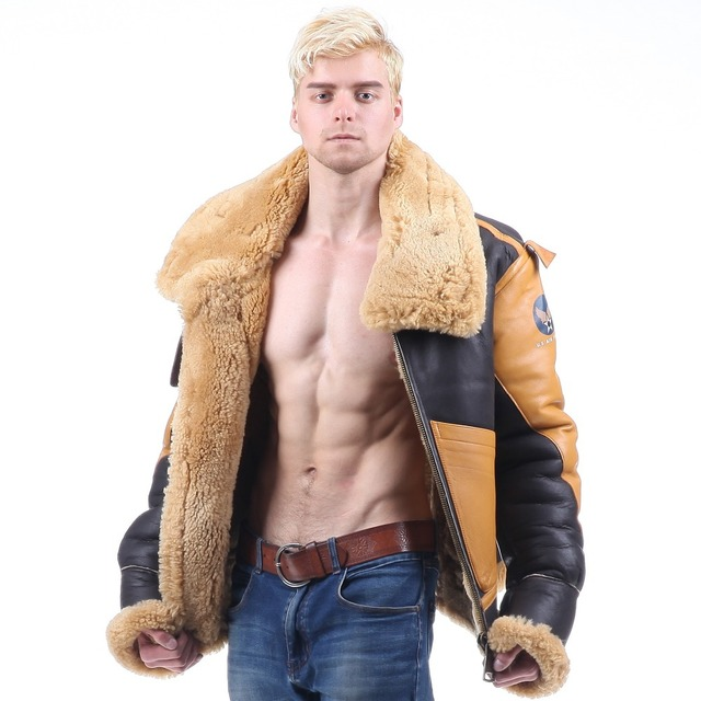 a65f53cb12d B3 shearling Leather jacket Bomber Fur pilot World II Flying aviation air  military US Force The most warm Polar Coat Men Women