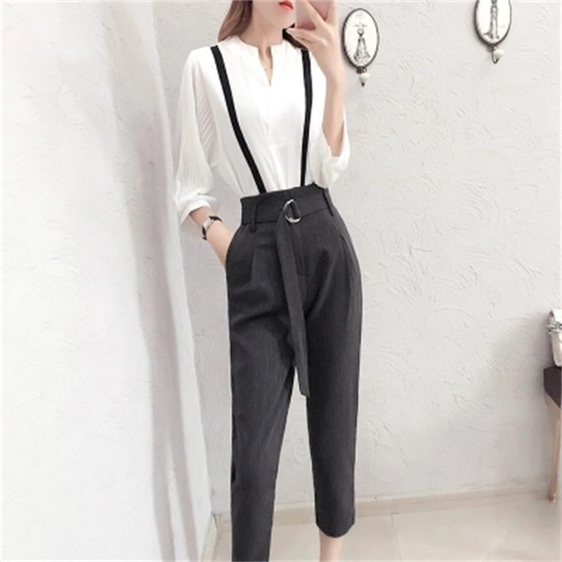 Fashion Suit women spring New high quality Temperament goddess white shirt + nine points pants two-piece Suit women 1