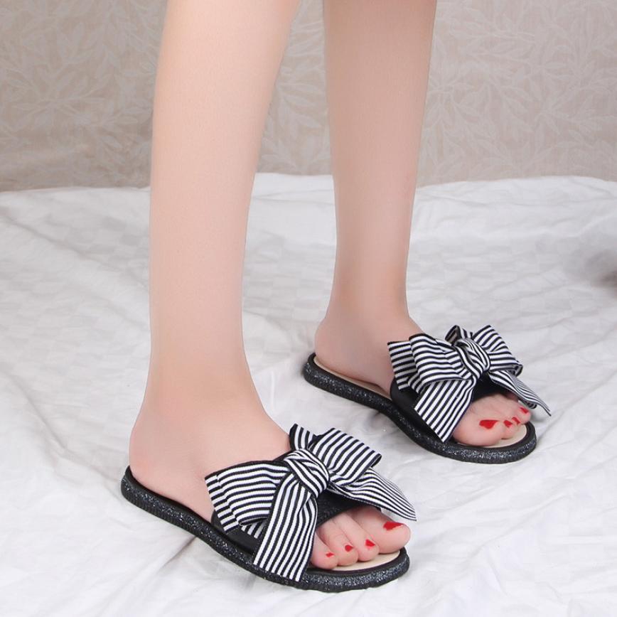 цены Summer Women Sandals Fashion Stripe Bow Round Toe Flat Heel Sandals Hot Sale Open Toe Flip Flops Female Slipper Beach Shoes