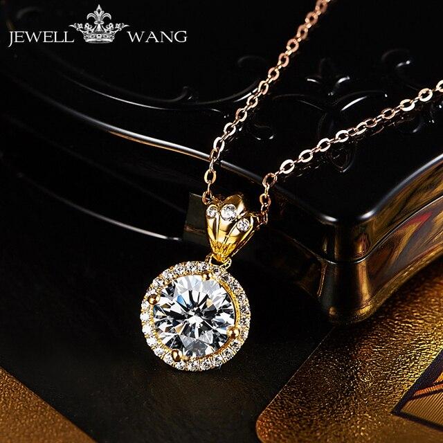 JewellWang 18K Yellow Gold Pendants for Women Original Design