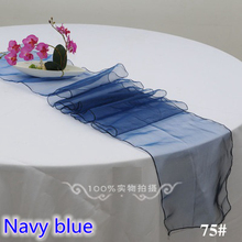 Navy blue color Organza table runner cheap table runner wedding hotel party show decoration crystal shimmer organza