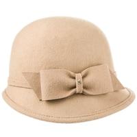 Sedancasesa Elegant 100% Wool Fedoras Felt Fedoras Hat Handmade Bowknot Warm Bowler Winter Ladies Church Cloche Hats for Girls