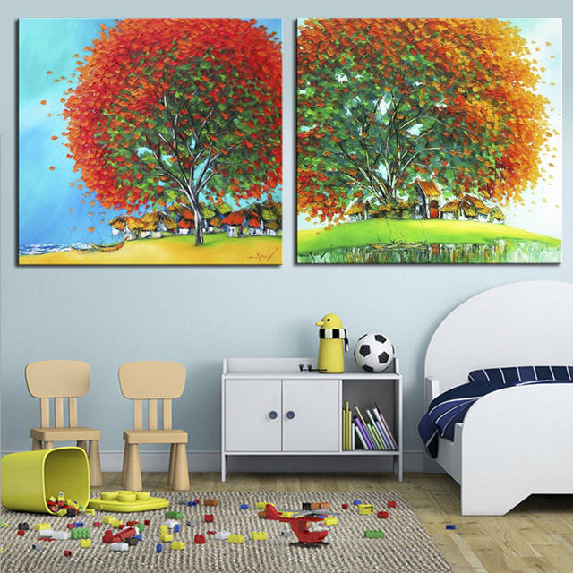 Countryside Landscape Oil Paintings 2 Piece Canvas Art Hand Painted Modern Abstract Tree Painting For