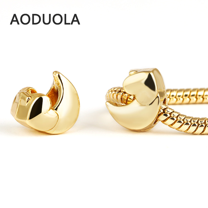 10 Pcs a Lot Gold Color Big Hole Heart-shaped Moon Alloy Beads DIY Spacer Chunky Charm Bead Fit For Pandora Charms Bracelets