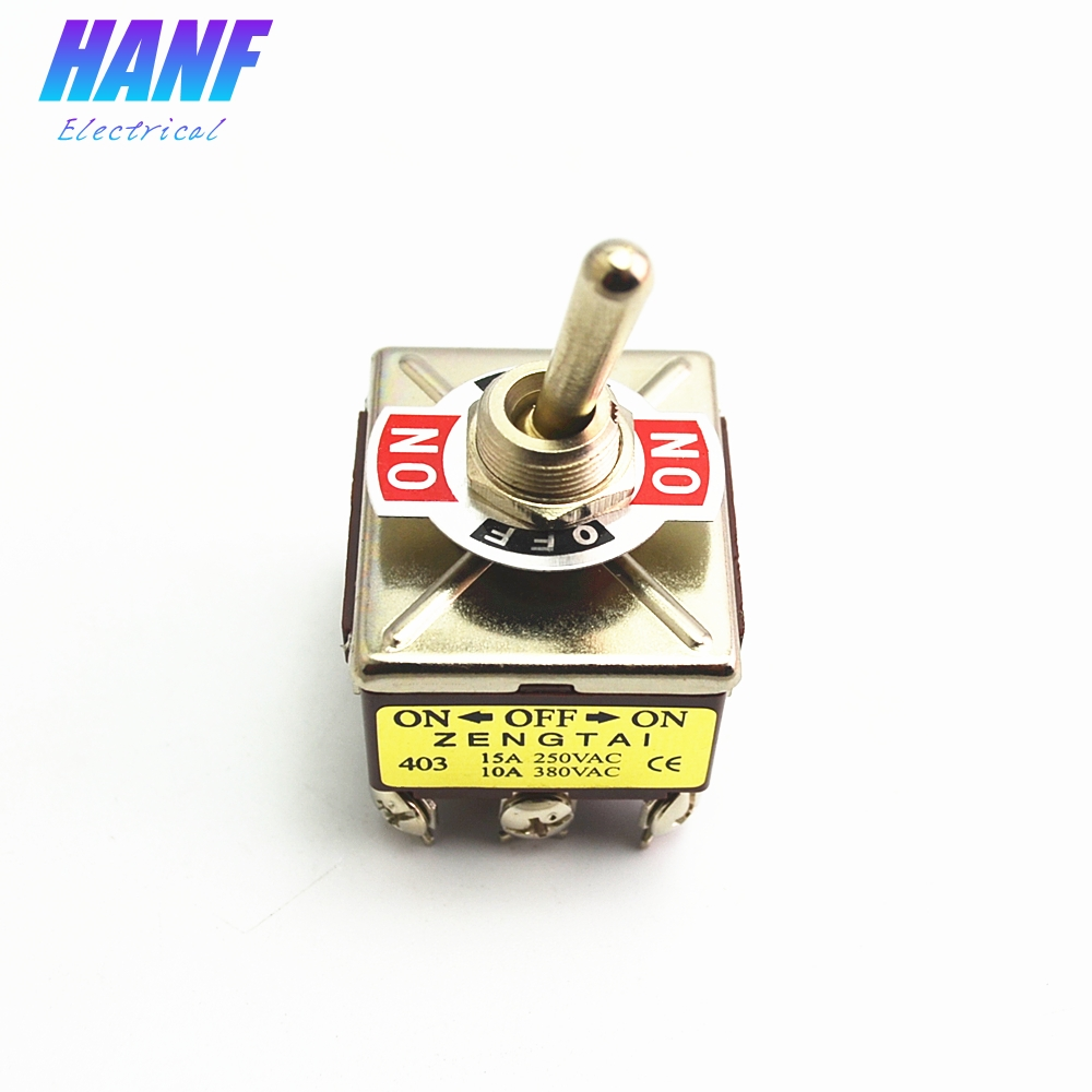 1pcs 380V 10A ON/OFF/ON 3 Positions 12 Pins Self-lock Toggle Switch 4PDT 15A 250VAC strap