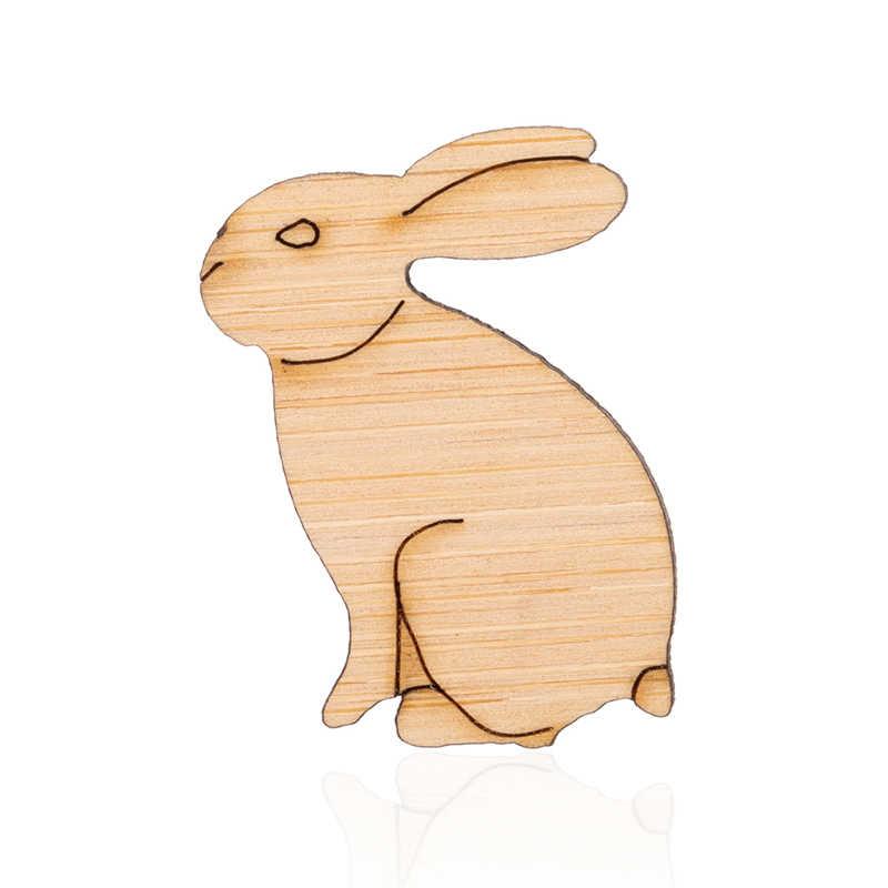 Yiustar мультфильм прекрасный кролик брошь для женщин 2019 модные деревянные ювелирные изделия в виде животных рубашка сумка Куртка значок на Воротник значок подарок