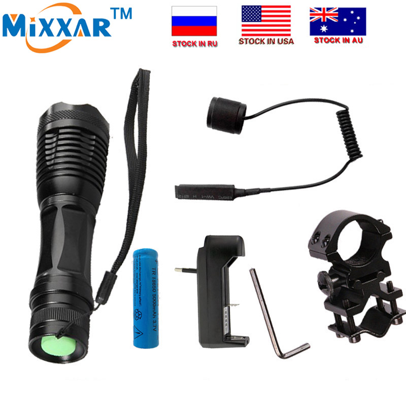 Loyal Zk20 T6 Led Tactical Dropshipping Flashlight 9000lm Zoomable Torch For Hunting Led Lighting Led Flashlights 1*18650 Battery+remote Switch+charger+gun Mount Keep You Fit All The Time