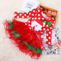 Princesa Meninas Vestido de Natal Traje Crianças Polka Dot Vestido de Manga Longa Com Arco Bonito Cor Vermelha Vestidos De Tutu Para Crianças