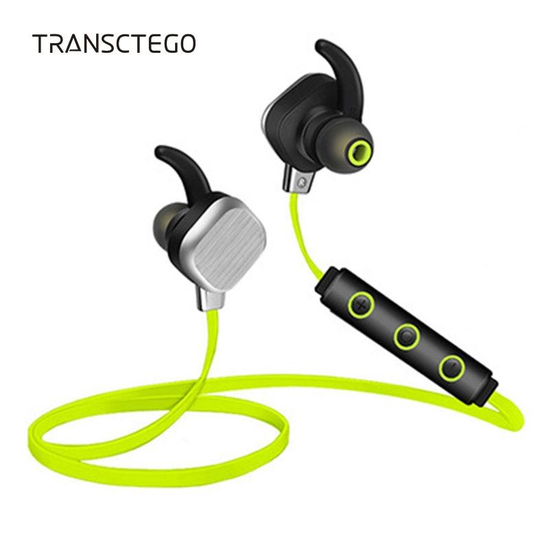 TRANSCTEGO Bluetooth Wireless Headset Ear Stereo Earphone Sport Running Headset Headphones With Microphone Magnetic Sweatproof 2016 stereo wireless bluetooth headset headphones earphone running sport with microphone for xiaomi all phones