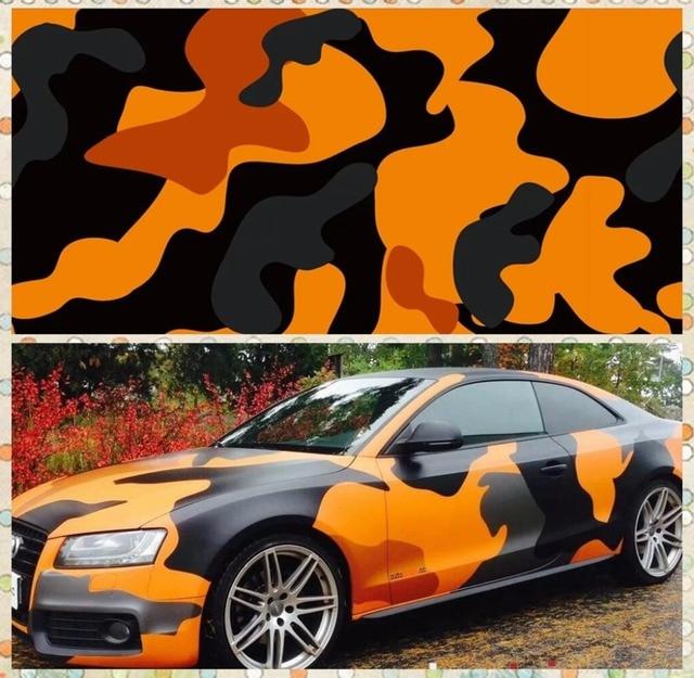 Aliexpress Com Buy Orange Large Camo Vinyl Car Wrap