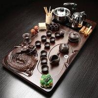 Whole Set Household Ceramic Teapot Teacup Tea Tray Kung Fu Tea Ceremony Embossed Dragon Tea Table
