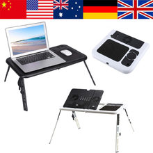 Heat Dissipation Portable Foldable Adjustable Laptop Desk Computer Table Stand Tray For Sofa Bed Black Foldable Desk Laptop Tray(China)
