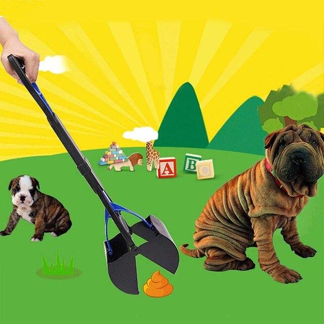 Long Handle Dog Cat Pet Pooper Scooper Jaw Dogs Poop Scoop Clean Pick Up Animal Waste Pets Waste Picker Pooper Scooper Size 60CM
