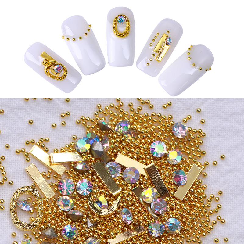 1 Box Ab Color Rose Gold Multi Size Nail Art Caviar Beads Sharp
