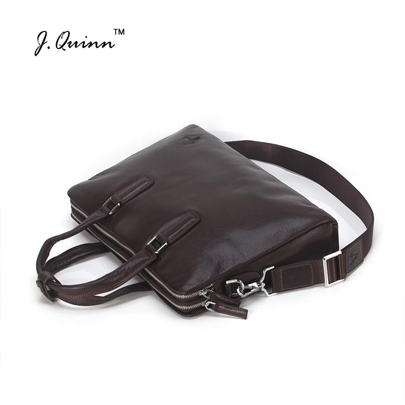 J.Quinn Leather Briefcases Bags Mens Business Document Bag Genuine Cowskin Brand Man Messenger Shoulder Bag For Male Laptop 2017