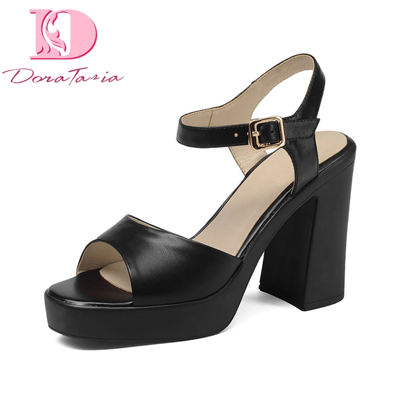 Doratasia New women's Genuine Leather good quality brand shoes High Heels Platform Shoes Woman Casual Sandals-in High Heels from Shoes    1