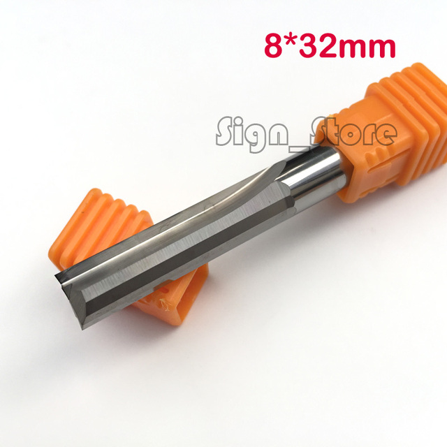 2pcs 8*32mm Two Double Flutes Straight Slot Bits, Wood Cutters, CNC Carving Engraving Tools, Milling Cutter Solid Carbide Router
