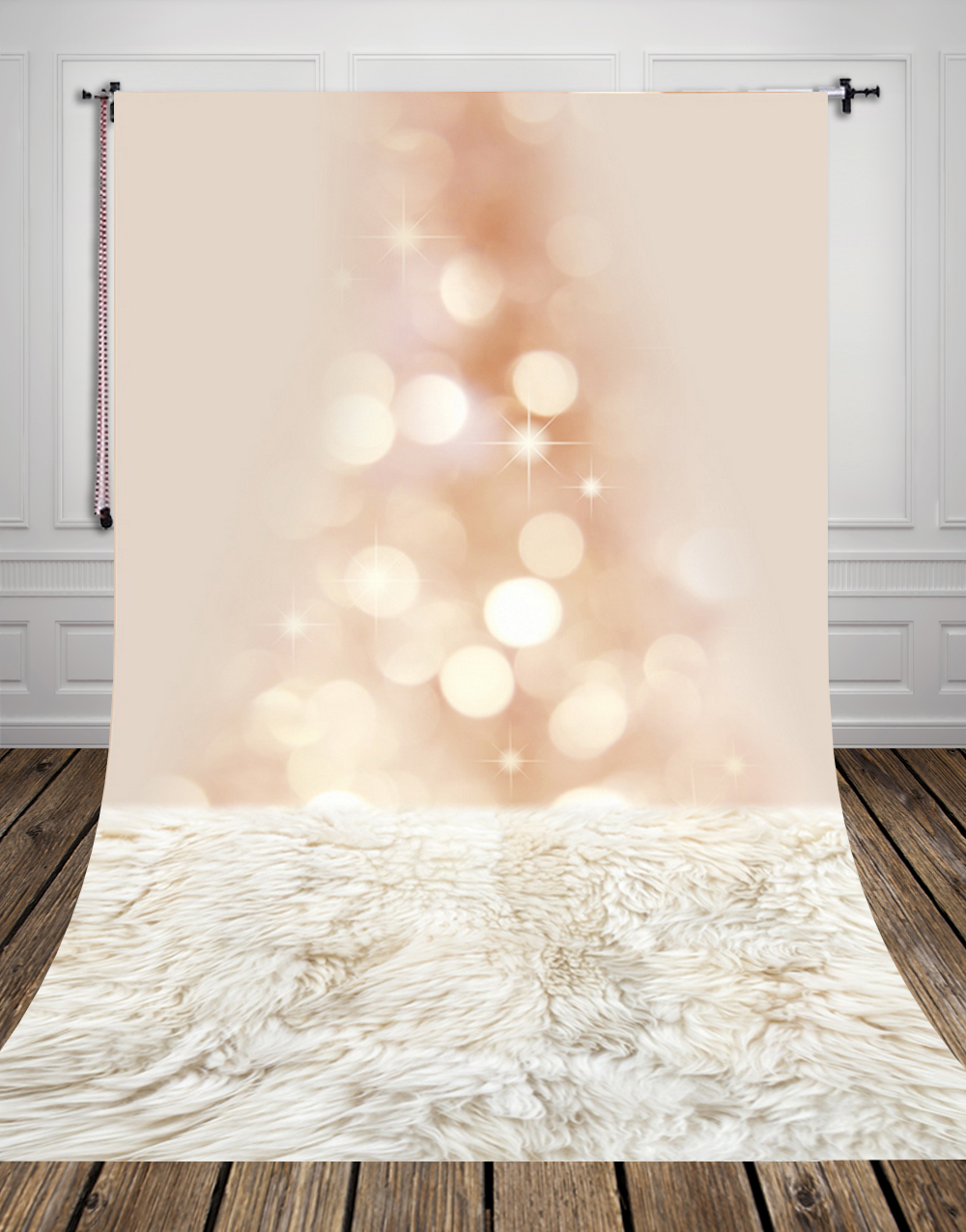 5x10ft(1.5x3m) studio photo background backdrop made of Art fabric printed with fur floor and bokeh for newborn picture D-9715