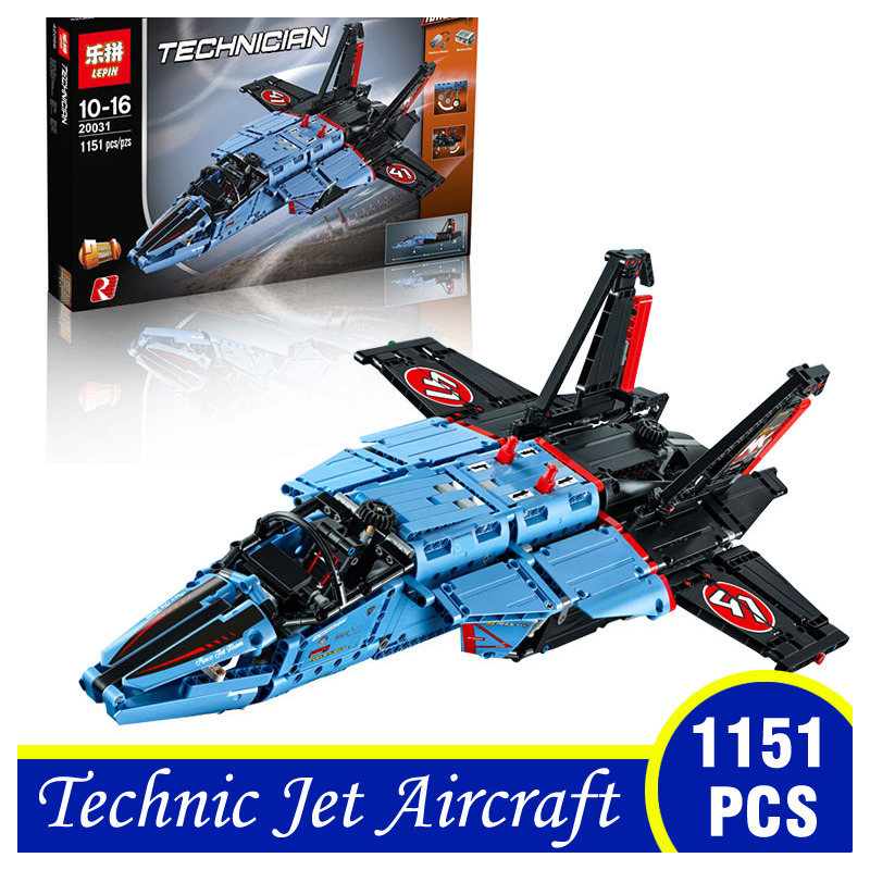 20031 1151PCS Technic Series The Jet Racing Aircraft Model Building Blocks Brick Funny Childre Gifts Compatible With LEPIN 42066 lepin 20031 technic the jet racing aircraft 42066 building blocks model toys for children compatible with lego gift set kids