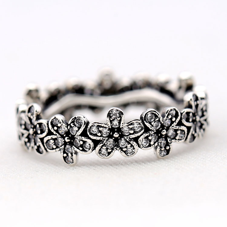 ce6e777b37898 US $9.23 |Classic vintage 925 Sterling Silver Sparkling flowers Rings love  rose pave ring For Women Famous Original Jewelry Making-in Rings from ...