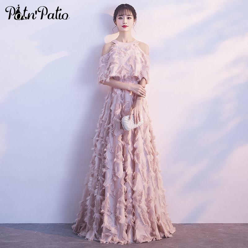 エレガントなピンクのイブニングドレスホルターオフショルダーフェザーロングフォーマルドレスの豪華特別な日のドレスプラスサイズ  グループ上の ウェディング & イベント からの イブニングドレス の中 1