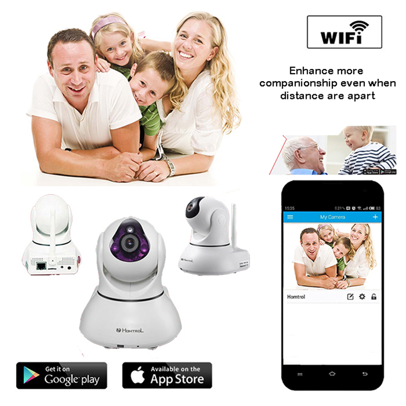 Фотография Pan Tilt with Digital Zooming Mega Pixel Smart Home Wi-Fi IP camera with 64 channel RF security sensor Phone or PC recording