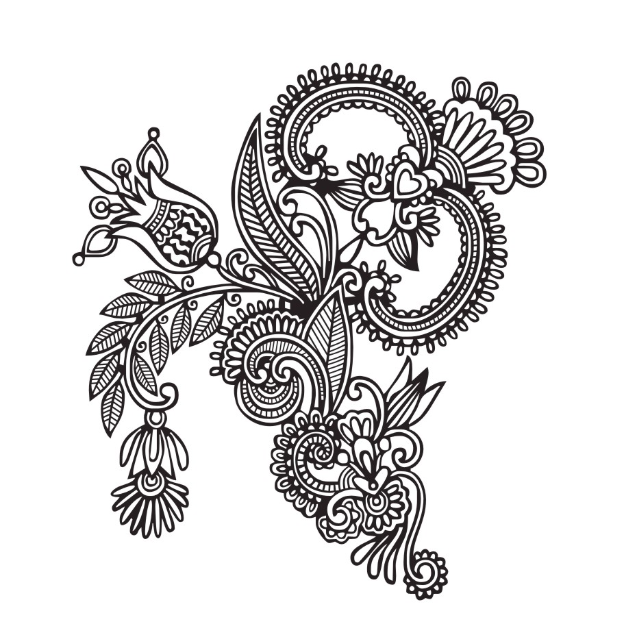 EHOME Mehndi Wall Stickers Design Indian Floral Mandala Wall - Vinyl stickers design