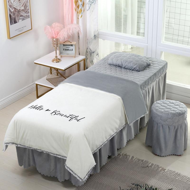 4-6pcs Beautiful Beauty Salon Bedding Sets Massage Spa Use Coral Velvet Embroidery Duvet Cover Bed Skirt Quilt Sheet Custom #s