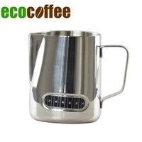 Envío gratis de acero inoxidable de 600 Ml leche jarra de café jarra con therometer en la superficie