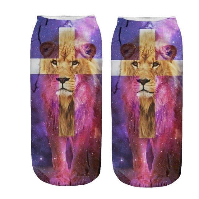 Dreamlikelin 3D aurore étoilée licorne Lion capteur de rêves 1 paire femme hommes Mandala fleur chaussettes mode Flexible cheville chaussettes