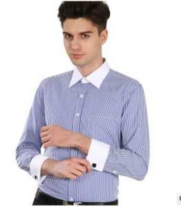 2018 French cuff-link shirt men's long sleeve business shirt
