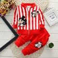 2015 nova primavera roupas de bebê define 2 PC ternos em torno do pescoço camisa do bebê + calças de algodão do bebê meninos meninas Tracksuits frete grátis