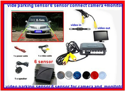 video parking sensor 2 for front 4 for back .camera sound alarm parking 6 sensor,car camera and radar system for car reverse