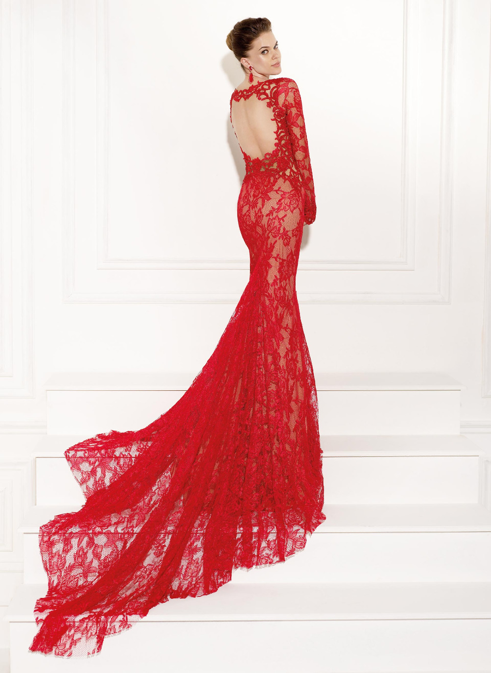 Formal lace dresses with sleeves