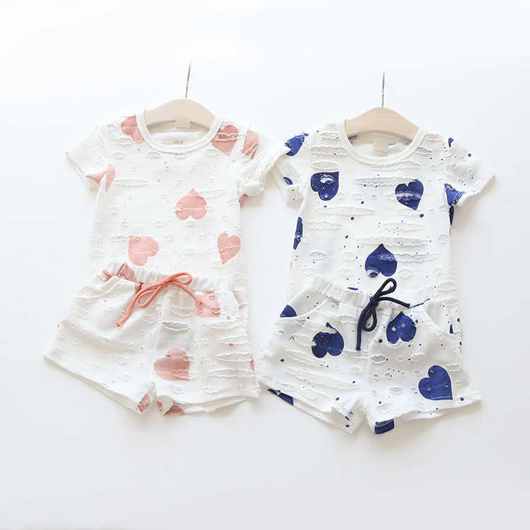 HTB1BqZkQXXXXXbEXFXXq6xXFXXXj - 2pcs/sets,Casual Kids Clothing Baby Girls Clothes Sets Summer Heart Printed Girl Tops Shirts + Shorts Suits Children's Clothing