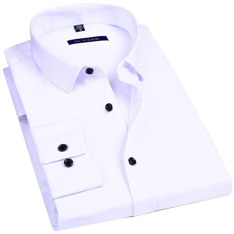 Elasticity Slim Fit Men Dress Casual Long Sleeved Shirt White Black Blue Red Mal