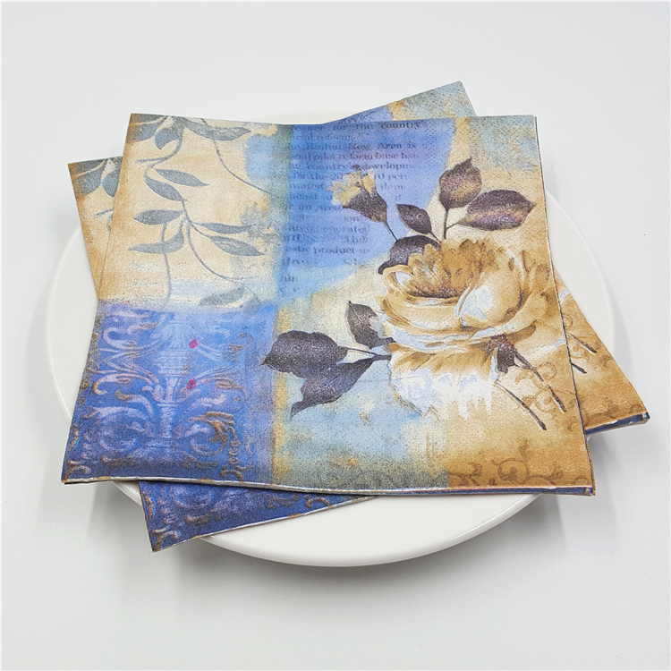 20 Vintage Table Napkins Paper Tissue Pink Rose Flowers Blue Bird Butterfly Decoupage Wedding Party Home Cafe Decor Serviettes