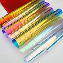 Doce iridescente holográfico claro transparente pvc tecido leatherette laser arco-íris filme vinil artesanato saco brinco diy arcos fazendo