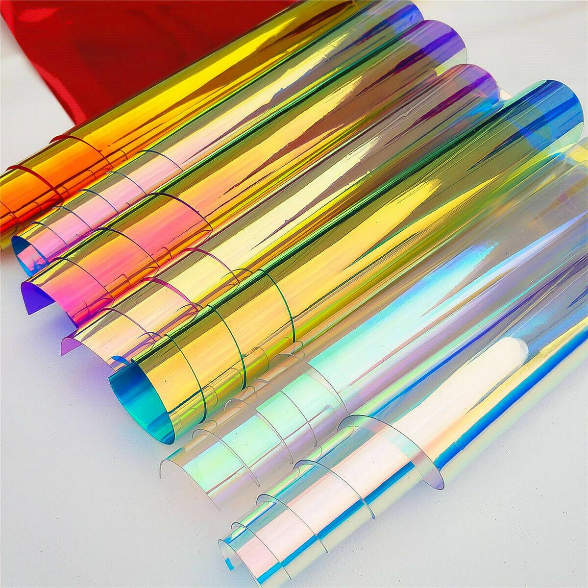 Irisé holographique clair Transparent PVC tissu Laser arc-en-ciel brillant vinyle matériel arc artisanat sac